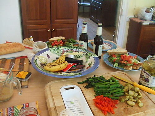 Table with salad fixings