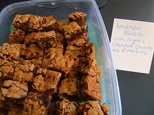 Lavender Blondies with Choc and Nuts
