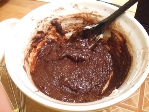 Chewy cocoa cookie batter