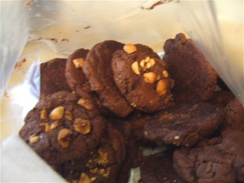 Chewy cocoa cookies with chocolate chips and hazelnuts