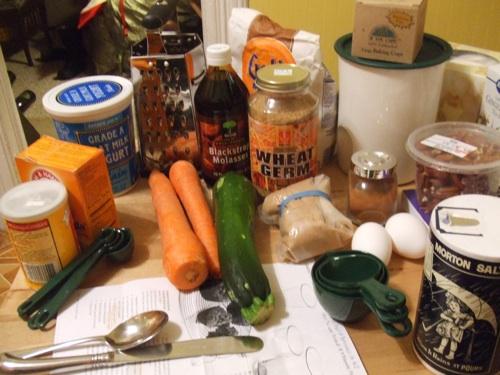 Carrot zucchini muffin prep
