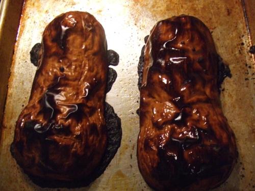 Charred butternut squash halves