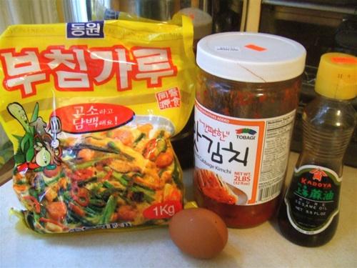 Korean kimchi pancake ingredients