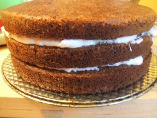 Carrot cake layers before frosting