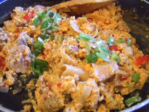Finished migas in pan