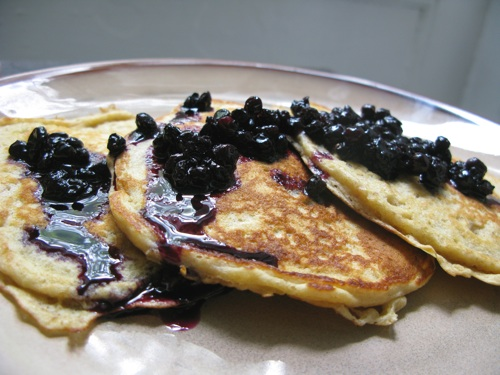 Pancakes with blueberry syrup
