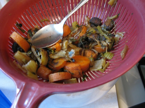 Draining roasted veggies