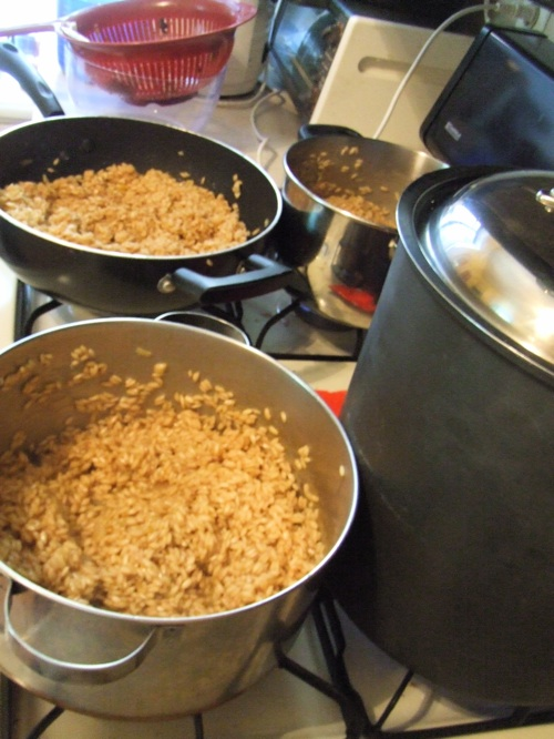 3 pans risotto cooking