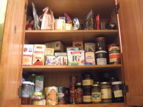 Cans tea baking cupboard