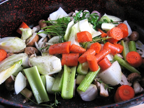 Vegetables to roast for stock
